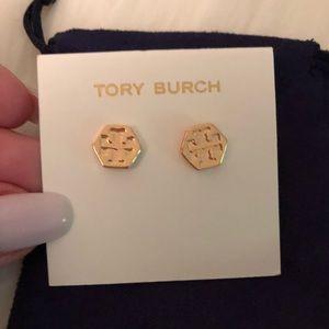 NWT Tory Burch Gold Logo Earrings